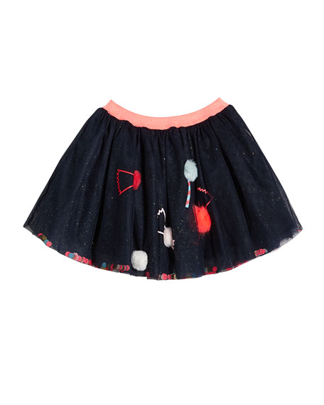 Girl's Glitter Tulle Skirt w/ Candy Pompom Detail, Size 4-12