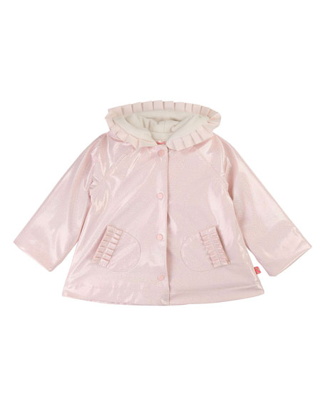 Shimmer Raincoat w/ Pleated Trim, Size 12M-3