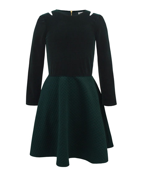 Stretch Velour Quilted Skirt Dress, Size 10-16