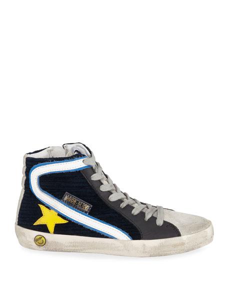 Boy's Slide High-Top Corduroy Sneakers, Toddler/Kids