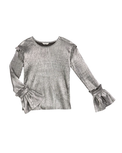 Nora Pleated Metallic Long-Sleeve Top  Size 7-14