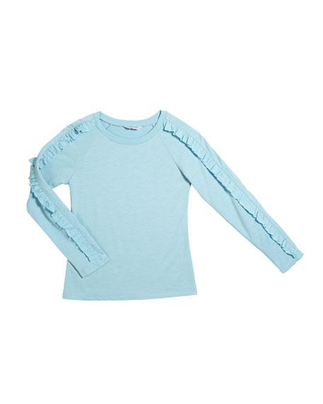 Amira Terry Knit Ruffle-Trim Long-Sleeve Top, Size 7-14