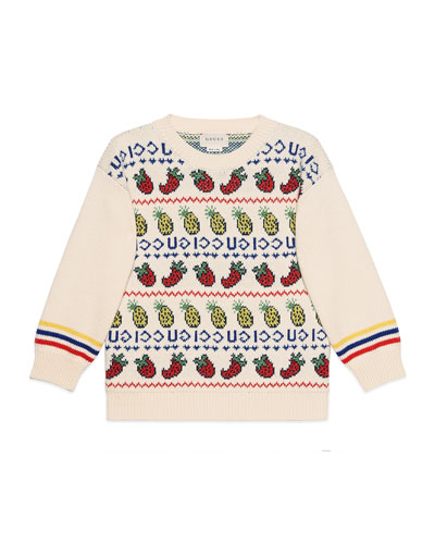 Fruit & Logo Intarsia Sweater  Size 4-12