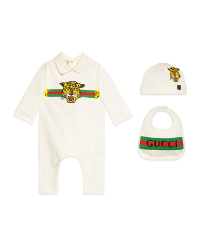 Logo Print Coverall w/ Matching Baby Hat & Bib  Size 0-36 Months