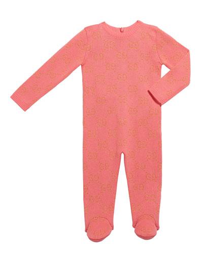 Girl's Metallic GG Jacquard Footie Pajamas  Size 0-36 Months