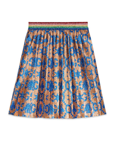 GG Bees & Stars Lame Jacquard Pleated Skirt  Size 4-12