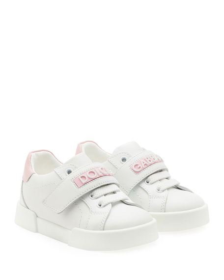 Grip-Strap Two-Tone Leather Logo Sneakers, Baby