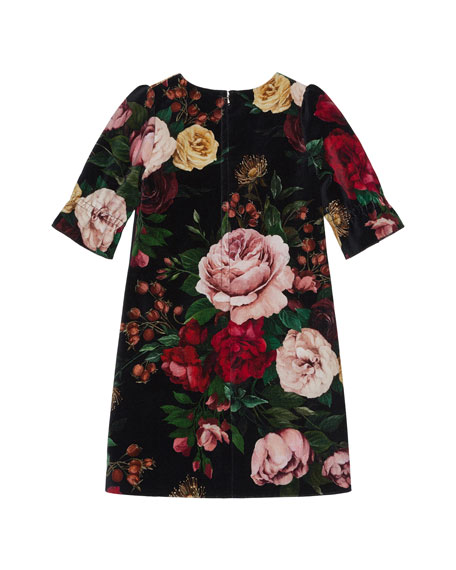 Girl's Floral Print Shift Dress, Size 8-12