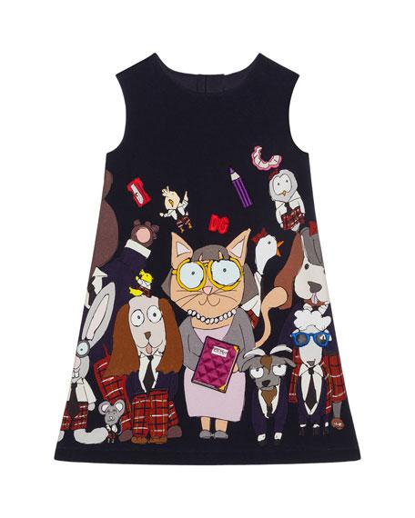 Girl's Back To School Motif Sleeveless Shift Dress, Size 4-6
