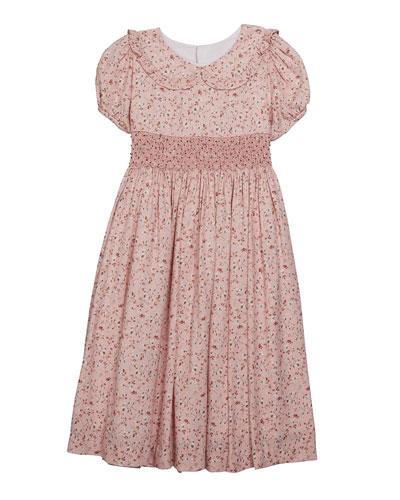 Girl's Floral Peter Pan Collar Dress  Size 5-6X