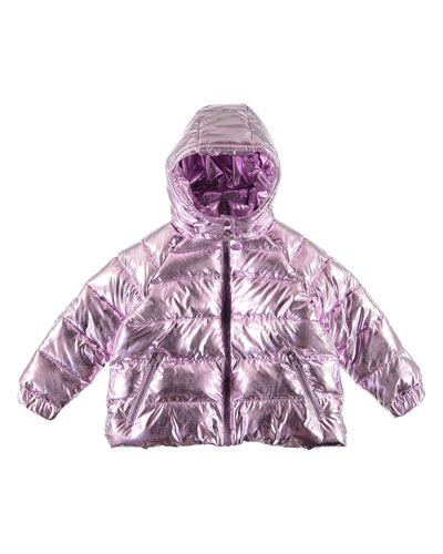 Girl's Metallic Hooded Puffer Jacket  Size 4-14