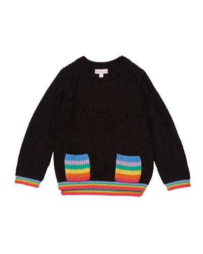 Girl's Rainbow Pocket Sweater  Size 2-6X