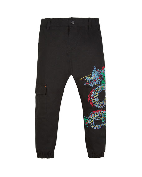 Japanese Dragon Embroidered Cargo Pants, Size 2-12