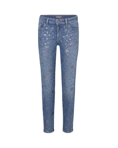 Girl's Chloe Metallic Star Print Denim Jeans  Size 2-6