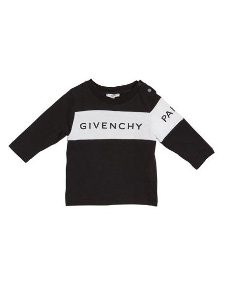 Boy's Long-Sleeve Colorblock Logo Tee, Size 12M-3