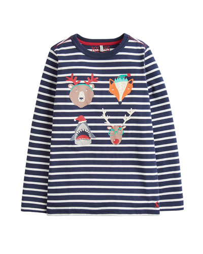 Boy's Finlay Striped Christmas Animals Top  Size 2-6