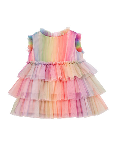 Rainbow Tulle Ruffle Dress  Size 6-24 Months