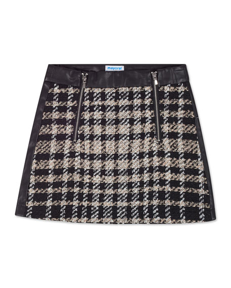 Girl's Check Tweed & Faux Leather Mini Skirt, Size 8-16