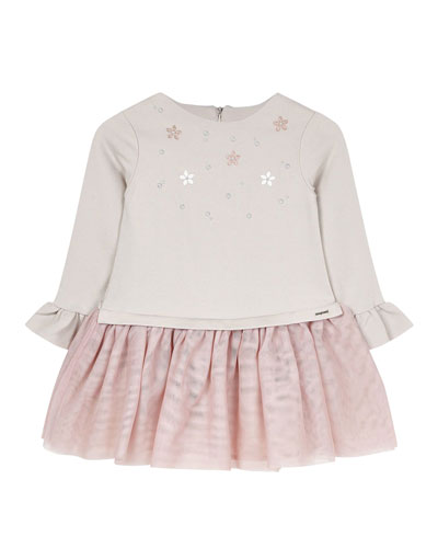 Girl's Studded Voile Dress  Size 4-7