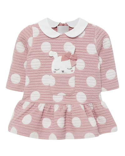 Girl's Quilted Polka-Dot Dress w/ Dog Applique  Size 2-12 Months