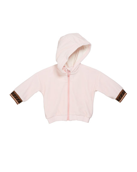 Girl's Zip-Up Hooded Jacket w/ FF Cuffs, Size 12-24 Months