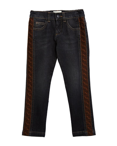Boy's Denim Jeans w/ Logo Sides  Size 4-14