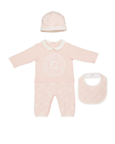 Logo Coverall w/ Matching Hat & Bib  Size 3-9 Months