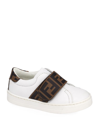 FF Trim Leather Low-Top Sneakers, Baby