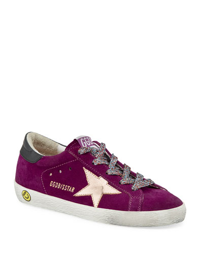 Girl's Superstar Suede Metallic Star Sneakers  Toddler/Kids