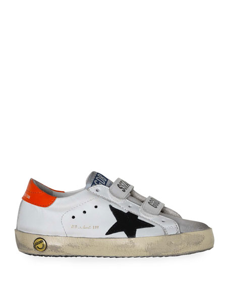 Boy's Old School Leather Sneakers, Baby/Toddler