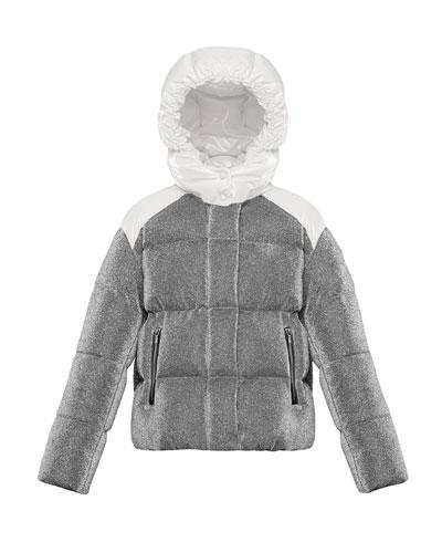 Chouette Sparkles Detachable-Hood Puffer Coat  Size 8-14