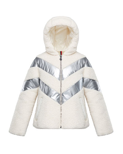 Cabourg Chevron-Striped Hooded Coat  Size 8-14