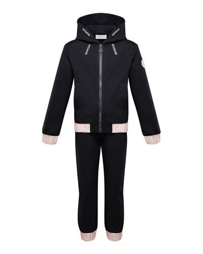 Contrast-Trim Hoodie w/ Matching Sweatpants  Size 4-6