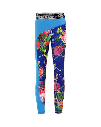 Girl's Olympia Floral Print Full Length Workout Leggings w/ Contrast Panel  Size 5-16