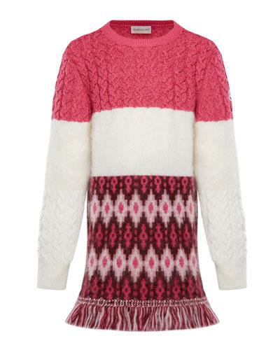 Virgin Wool Sweater Dress w/ Fringe  Size 4-6