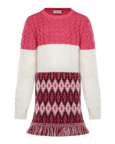 Virgin Wool Sweater Dress w/ Fringe  Size 8-14