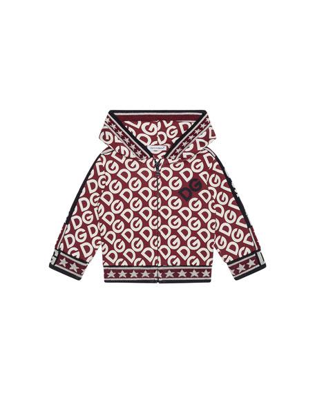 Kid's DG Print Zip-Up Hooded Jacket, Size 4-6