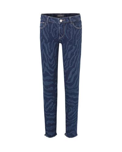 Girl's Chloe Skinny Animal Print Denim Jeans  Size 7-16
