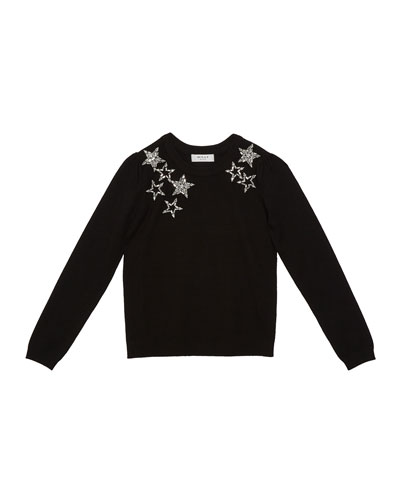 Girl's Starry Beaded Sweater  Size 7-16