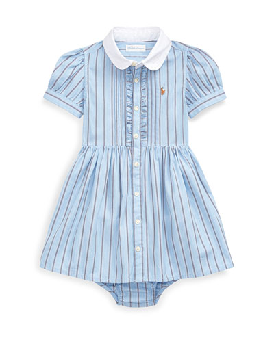 Girl's Woven Striped Shirt Dress w/ Bloomers  Size 6-24 Months