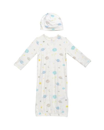 Cosmic Wonder Sleeping Gown w/ Matching Hat  Size 0-3 Months