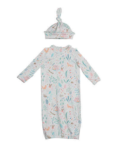 Woodland Floral Print Sleeping Gown w/ Matching Hat  Size 0-3 Months
