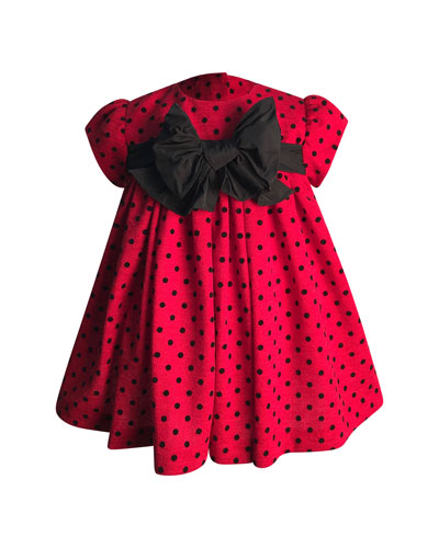 Girl's Polka-Dot Bow Dress  Size 6-18 Months