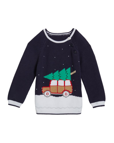Boy's Christmas Car Knit Sweater  Size 12M-7