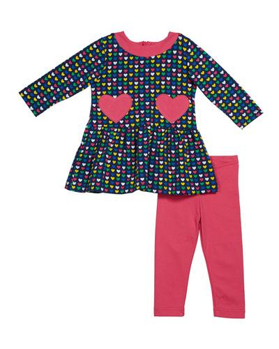 Girl's Multi Heart Long-Sleeve Dress w/ Heart Pockets & Leggings  Size 2-6X