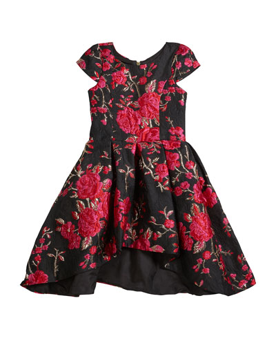 Girl's Brenna Rose Jacquard High-Low Dress  Size 7-16
