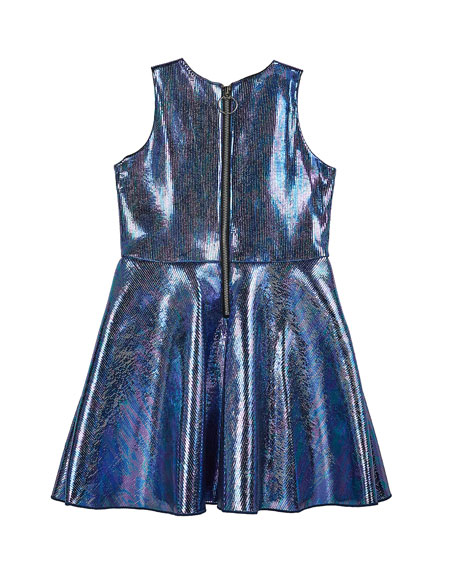 Girl's Metallic Foil Pocket Swing Dress, Size 4-6X