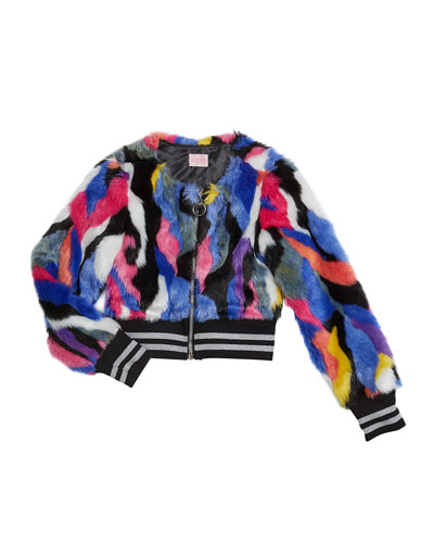 Girl's Colorful Funky Fun Faux Fur Bomber Jacket  Size 4-6X