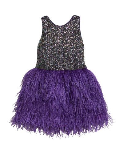 Girl's Sequin Sheath Dress w/ Feather Skirt  Size 7-16