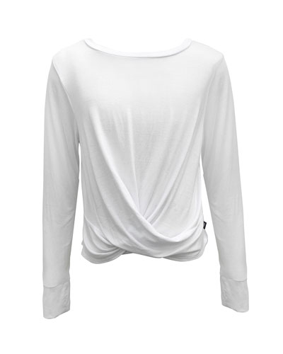 Girl's Twist Front Long-Sleeve Tee  Size 7-16